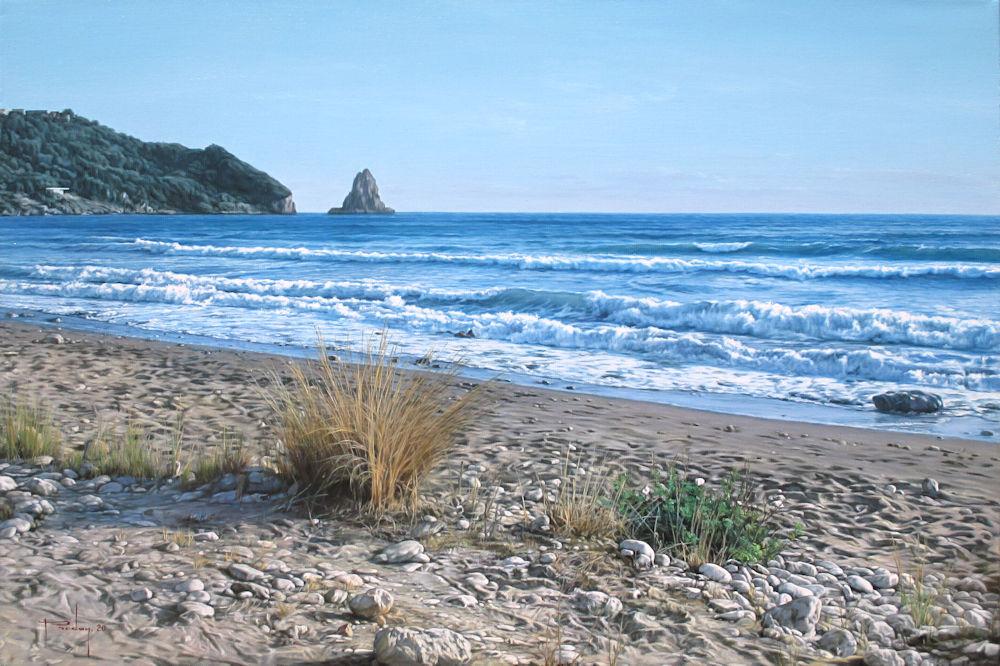 Strandgezicht Corfu (Griekenland), olieverf op linnen, afmeting 40x60cm doekmaat