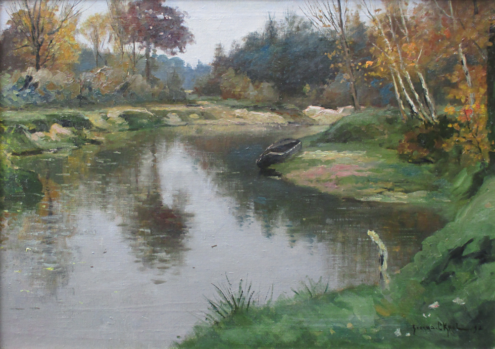 De rivier de Dinkel in Twente, olieverf op linnen, afmeting 50x70cm doekmaat