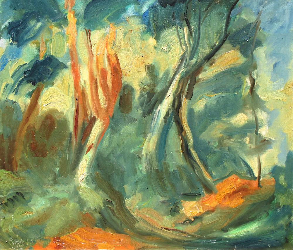 Bosgezicht, olieverf op linnen, afmeting 70x80cm doekmaat