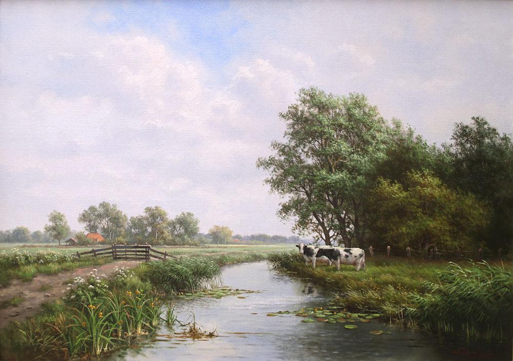 Koeien in landschap, olieverf op linnen, afmeting 50x70cm doekmaat