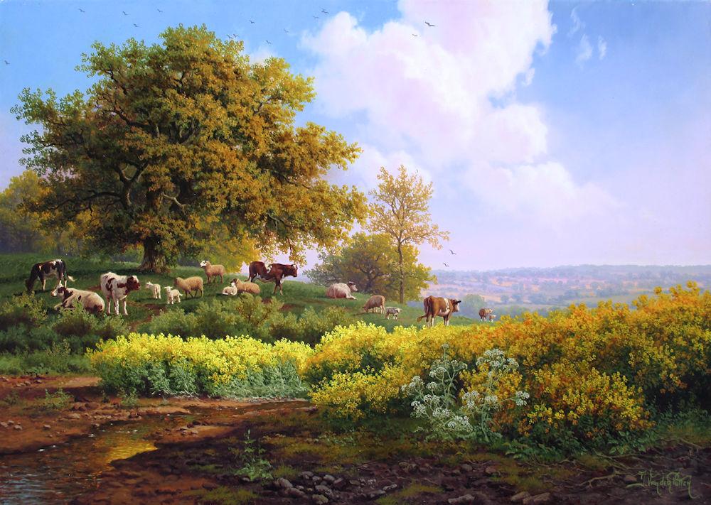 Landschap met vee, olieverf op paneel, afmeting 25x35cm paneelmaat