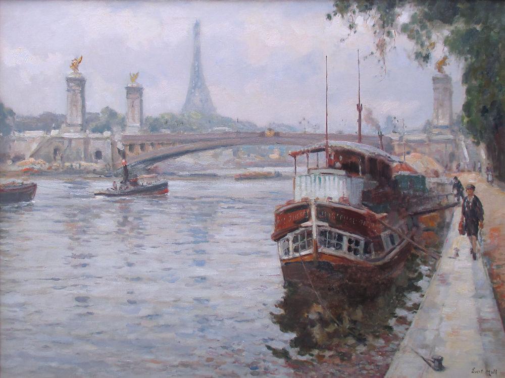 Gezicht op de Seine bij de Pont Alexandre III te Parijs. Gesigneerd r.o. Circa 1925. In de jaren 1924-1926 verbleef de schilder enkele tijd in Zuid-Frankrijk, waarbij hij onderweg ook Parijs aandeed, olieverf op linnen, afmeting 77x100cm doekmaat