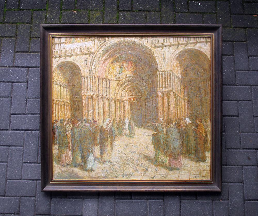 Bij de ingang van de kerk, olieverf op linnen, afmeting 87x102cm doekmaat, afmeting inclusief lijst 102x117cm