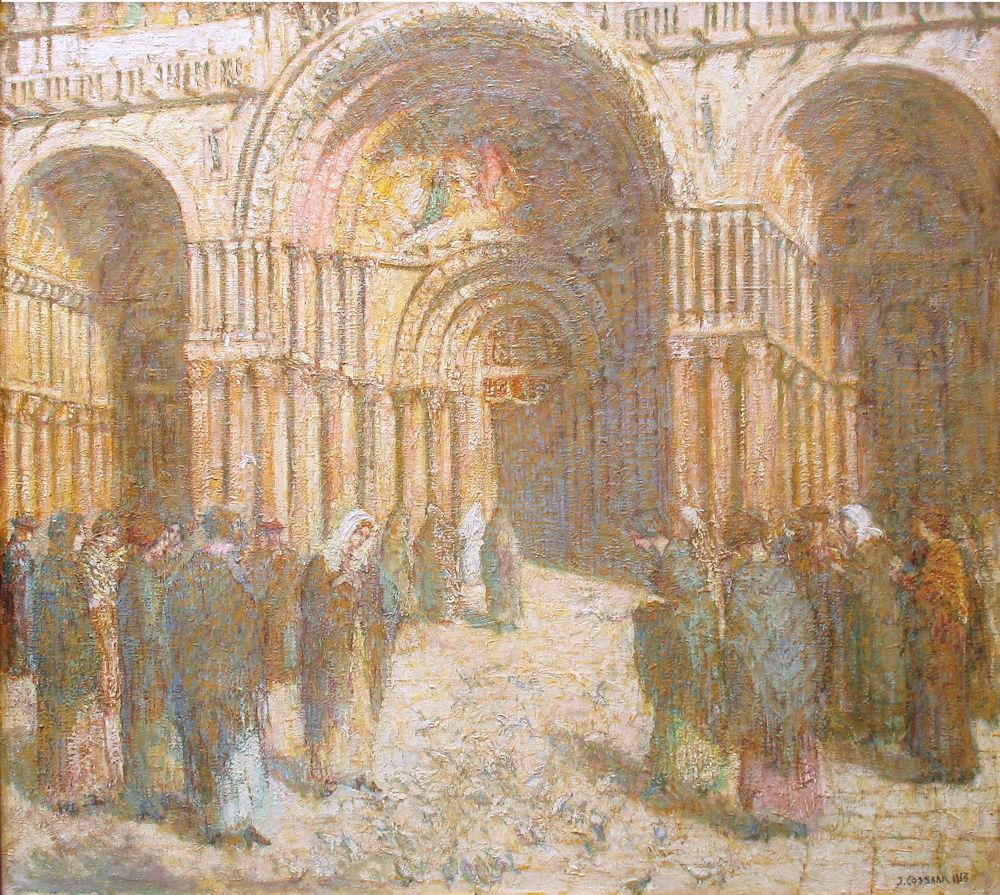 Bij de ingang van de kerk, olieverf op linnen, afmeting 87x105cm doekmaat