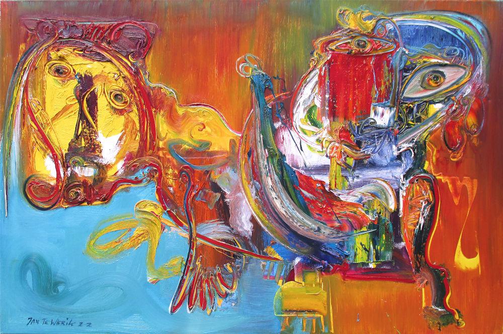 Vrije compositie, olieverf op linnen, afmeting 100x150cm doekmaat, prijs is inclusief lijst