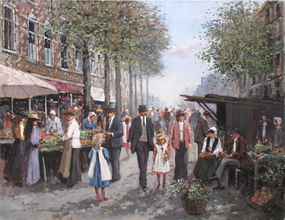 Op de markt, olieverf op linnen, afmeting 70x90cm doekmaat