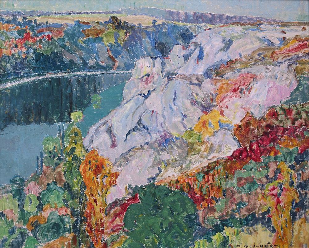 Landschap in de Ardennen, olieverf op schilderboard, afmeting 42x50cm beeldmaat