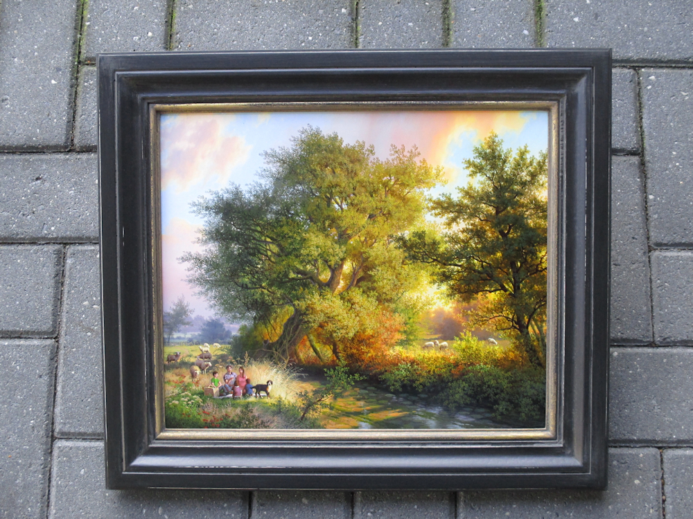 Picnick, olieverf op paneel, afmeting 32x39,5cm paneelmaat, afmeting inclusief lijst 44x51,5cm