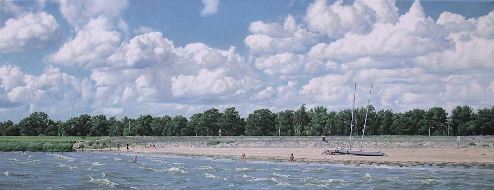 Strand bij Lemmer, olieverf op linnen, afmeting 35x90cm doekmaat