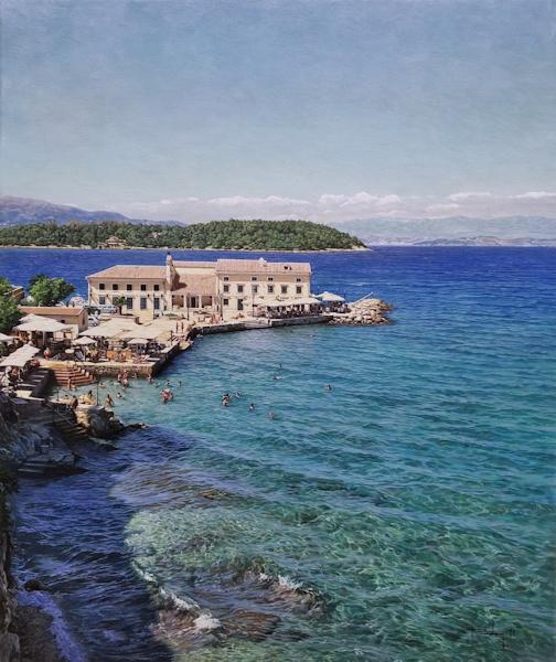 Gezicht op Korfu-stad (Griekenland), olieverf op linnen, afmetingen 50x60cm doekmaat