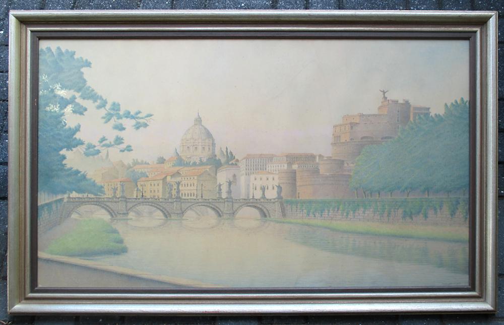 Gezicht op Rome, kleurpotlood op papier, afmeting inclusief lijst 72x112cm. Van 350,- voor 150,- nu voor 100,- euro