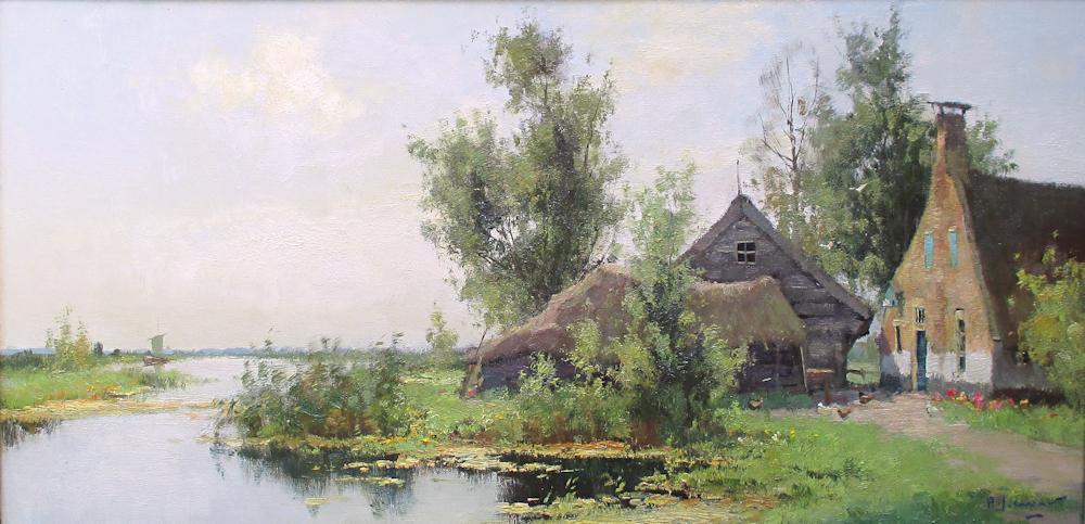 Bij Nieuwkoop, olieverf op linnen, afmeting 40x80cm doekmaat