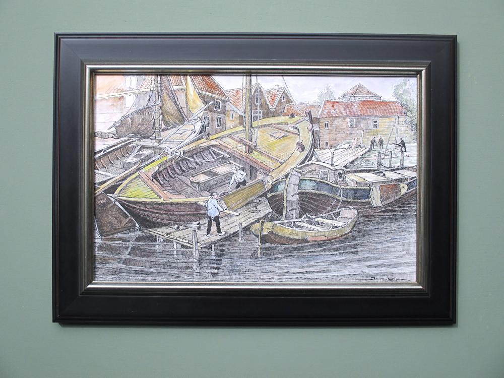 Haven van Spakenburg, gemengde techniek, afmeting inclusief museumglas en lijst 40x54cm.