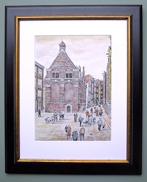 Stadsgezicht Amsterdam, gemengde techniek, afmeting inclusief passe partout, museumglas en lijst 50x64cm.