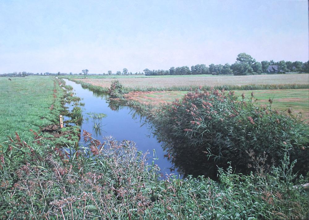 Landschap tussen Blokzijl en Bolsward, olieverf op linnen, afmeting 50x70cm doekmaat