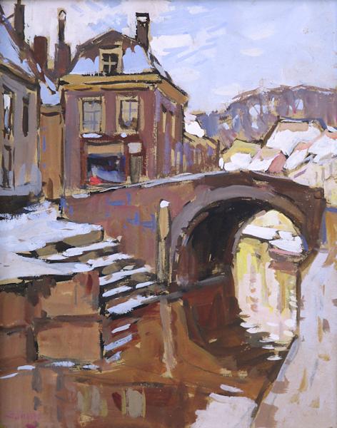 De Hooigracht in de winter te Den Haag, gouache op schilderkarton, afmeting 24x30cm beeldmaat, incl. museumglas.
