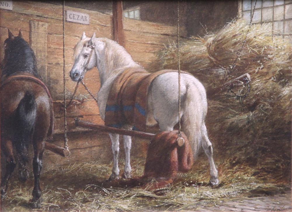Paardenstalinterieur, aquarel op papier, afmeting 27x36cm beeldmaat