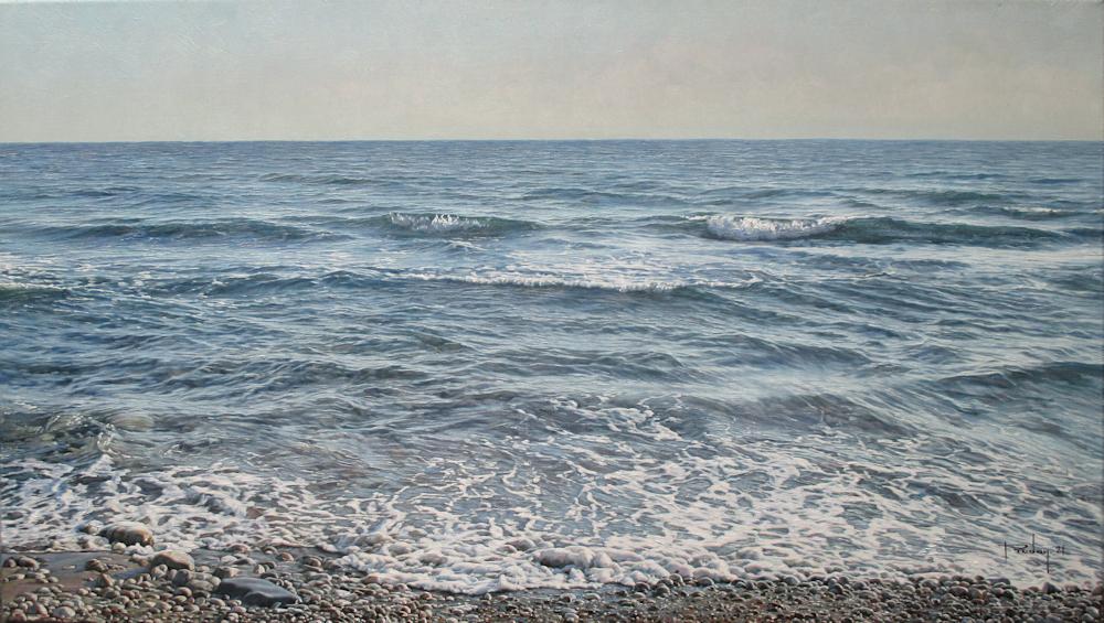 Aan de kust, olieverf op linnen, afmeting 40x70cm doekmaat