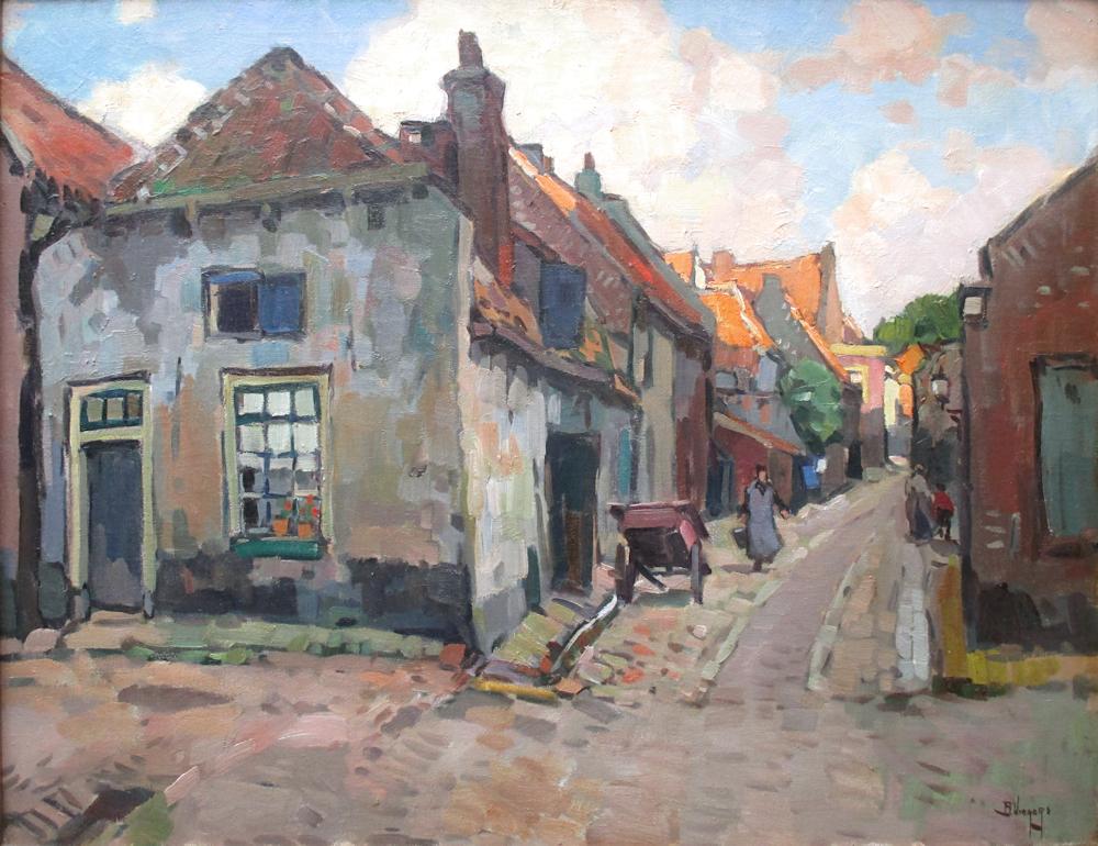 Straatje in Elburg, olieverf op linnen, afmeting 60x80cm doekmaat